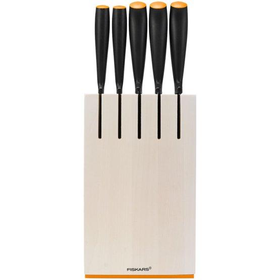 Ceppo in legno con 5 coltelli, bianco