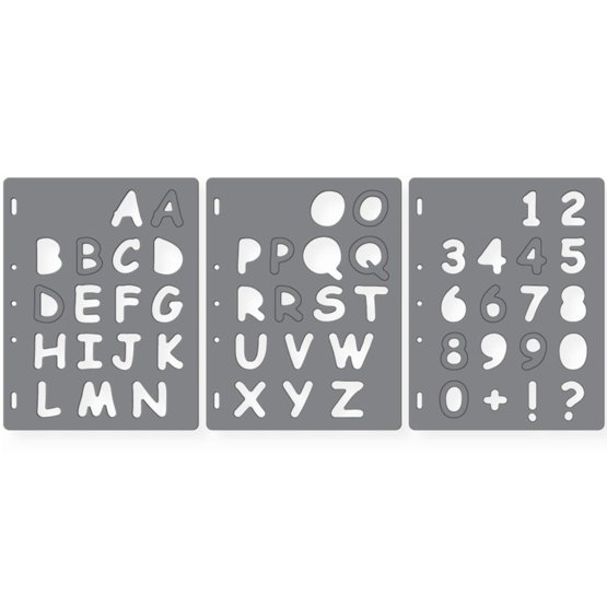Grandi ShapeTemplates™ - Uppercase+Numbers (3 pz)